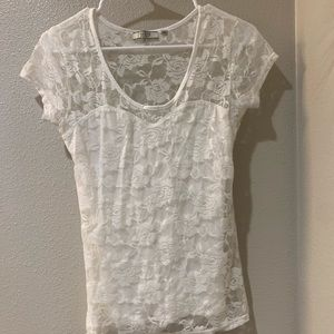 Guess White Lace Shirt